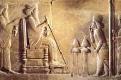 Persian king DARIUS on throne with son XERXES behind him